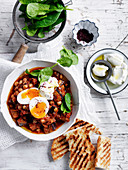 Spicy Eggplant with Soft-Boiled Eggs and Labne