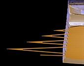 Cantilever 300x - Cantilever eines Rasterkraftmikroskops, 300-1
