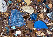 Quarzporphyr Eggental 95-3 PPol 30x - Rhyolith, Dünnschliff, 30:1
