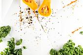 Kale, pumpkin, pumpkin seeds and lentils