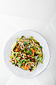 Thai vegetable pasta salad with spicy minced meat