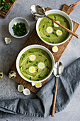 Traditional Frankfurt green herb soup with quail eggs and chives in bowls on a wooden board