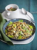 Tagliatelle with hazelnut and celery pesto