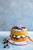 Blackberry and cream cake with blackberry jam and fresh blackberries