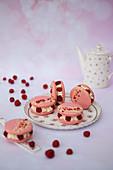 Raspberry macaron tarts