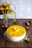 Mango and passion fruit cheesecake
