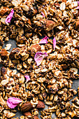 Almond, date, and cardamom granola with rosewater, unbaked
