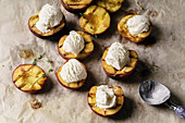 Grilled peaches and nectarines served with vanilla ice cream