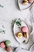 Bunte Macarons auf Teller und Marmoruntergrund (Aufsicht)