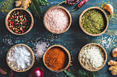 Set of spices on rustic blue background: Coconut shell bowls with paprika salt parsley and peppert