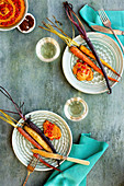Sumac Roasted Carrots with Roasted Red Pepper Harissa Pesto