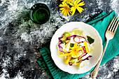 Sommergemüsesalat auf italienische Art mit Tangerinen-Vinaigrette (Aufsicht)