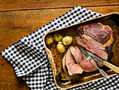 Slow Roast Lamb With Mustard Glaze