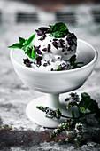Vegan chocolate mint ice cream with coconut milk