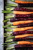 Roasting Carrots on a baking tray