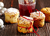 Mini stollen cupcakes with cranberries, baked in glasses