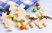 Easter cookies with grated coconut and sugar eggs