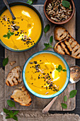Vegetable turmeric and coconut vegan soup