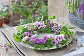 Tellerkranz aus Bergenienblüten und Geißblatt
