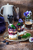 Blackberry trifle with peppermint and pansies