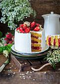 Strawberry elderflower cake with buttercream