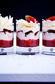 Strawberry tiramisu served in glasses