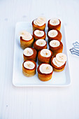 Banana cakes on a serving platter
