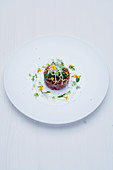 Wagyu beef tartare with orange cream