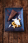 A peanut brownie with coconut sorbet and curried banana