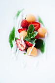 Strawberry and melon salad with mint