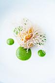 Vegetable oliebol with a herb dip