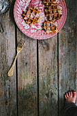 A brocante French plate with waffles and powdered sugar
