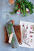 Botanical Christmas table setting