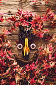 Lustiges Gesicht auf Holz mit roten Herbstblättern