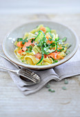 Tagliatelle with carrots, zucchini and cream cheese sauce