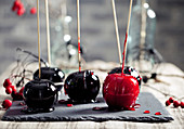 Halloween black and red caramelized apples on a wooden sticks.