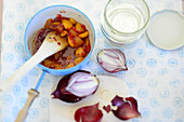 Apricot and chili chutney with red onions