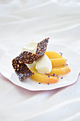 Peaches with lavender and vanilla parfait