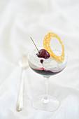 Stracciatella cherry fruit jelly cup