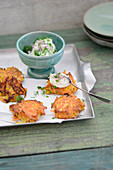 Carrot fritters with herb quark