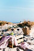 Wine and grape on beach