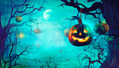 Halloween with scary Pumpkins and Dark Forest
