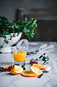 Fresh Orange Juice with Berries