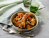 Pollo alla cacciatora (chicken with herbs, mushrooms and wine, Italy)