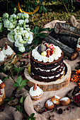 Autumn picnic with cupcakes and a cake