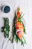 Raw red scorpion fish, with rosemary and thyme