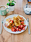 French toast with fresh strawberries