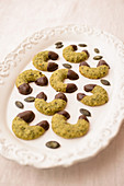 Pumpkin seed biscuits with a chocolate glaze