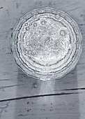 A glass of sparkling water (top view)
