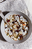 Cereals with coconut and almonds